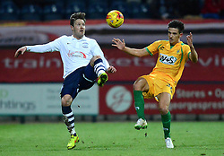 Preston North End's Scott Laird competes with Yeovil Town's Liam Shephard - Photo mandatory by-line: Richard Martin-Roberts - Mobile: 07966 386802 - 20/01/2015 - SPORT - Football - Preston - Deepdale Stadium - Preston North End v Yeovil Town - Sky Bet League One