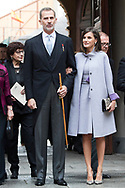 King Felipe VI of Spain, Queen Letizia of Spain attends 'Cervantes Award' to Ida Vitale at Alcala de Henares University on April 23, 2019 in Alcala de Henares, Spain