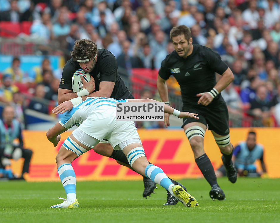 Leonardo Senatore of Argentina tackes Sam Whitelock during the Rugby World Cup New Zealand v Argentina, Sunday 20 September 2015, Wembley Stadium (Photo by Mike Poole)