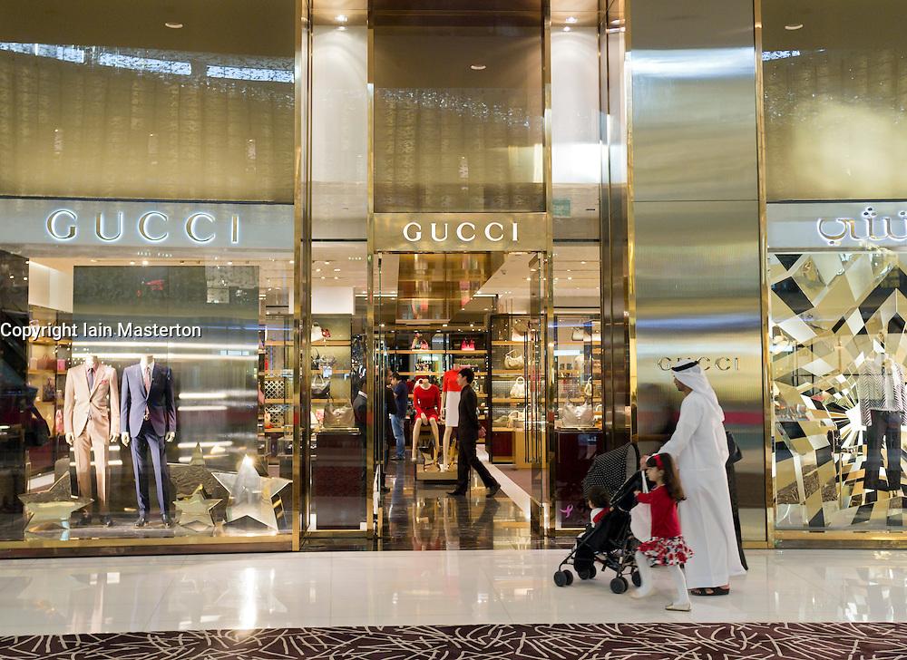 Gucci store in Dubai Mall in Dubai in United Arab Emirates