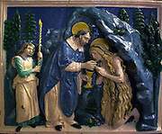 Workshop of Andrea Della Robbia (1435-1525) St Mary Magdalene receiving her last Communion.  Tin glazed terracotta, about 1490.  According to a medieval Life, Saint Mary Magdalene spent the last years of her life as a penitent hermit in Provence.