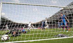 Falkirk's Peter Grant scoring their goal. Falkirk 1 v 2 Inverness CT, Scottish Cup final at Hampden.