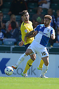 Matt Taylor and Jake Wright in action during the Sky Bet League 2 match between Bristol Rovers and Oxford United at the Memorial Stadium, Bristol, England on 6 September 2015. Photo by Alan Franklin.