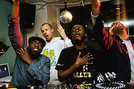 Acyde, DJ MK, Acyde and Rapscallion feeling the music at Blacktronica, NFT cafe, London, November 2006