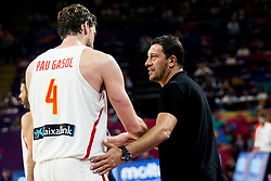 Pau Gasol of Spain and Ufuk Sarica, head coach of Turkey during basketball match between National Teams of Spain and Turkey at Day 11 in Round of 16 of the FIBA EuroBasket 2017 at Sinan Erdem Dome in Istanbul, Turkey on September 10, 2017. Photo by Vid Ponikvar / Sportida