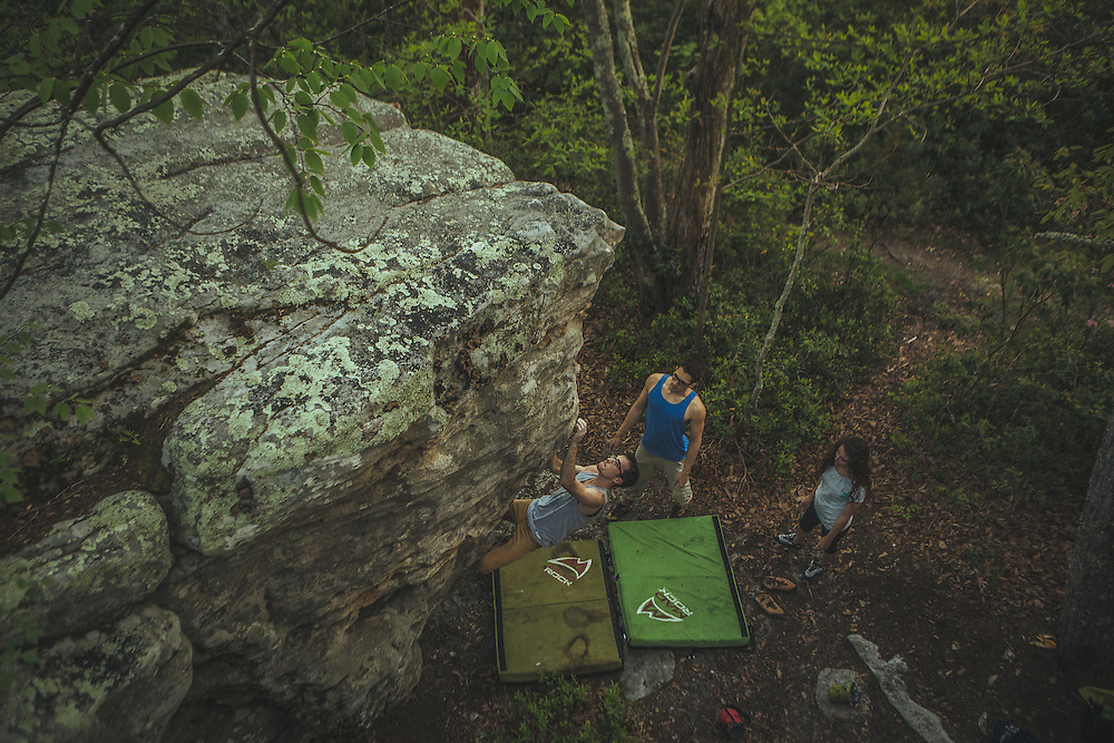Bouldering, climbing, hiking and sunset at Macfee Knob on the Appalachian Trail outside Roanoke Virginia.