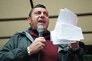 Contestazione al Jobs Act di Matteo Renzi. Manifestazione della Fiom. Graziano Gorla, Camera del Lavoro. Milano, 8 ottobre 2014.