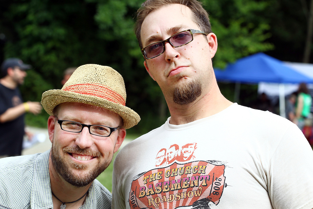 Tony Jones, left, and Steve Knight at the Wild Goose Festival at Shakori Hills in North Carolina June 23, 2011.  (Photo by Courtney Perry)