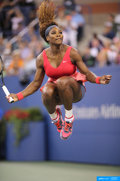 Serena Williams, USA, celebrates her victory over Victoria Azarenka, Belarus, during the Women's Singles Final at the US Open, Flushing. New York, USA. 8th September 2013. Photo Tim Clayton
