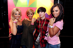 Left to right, MOLLIE KING, FRANKIE SANDFORD, KATE MOROSS and ROCHELLE WISEMAN at a party to celebrate the Firetrap Watches and Kate Moross Collaboration Launch, held at Firetrap, 21 Earlham Street, London, UK on 13th October 2010.