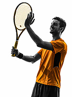 one man tennis player portrait applauding in silhouette on white background