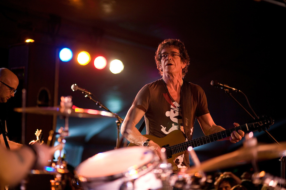 Lou Reed performs 'Walk on the Wild Side' with Moby at the Levi/FADER Fort during the 2008 SXSW music festival in Austin, TX.