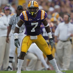 19 September 2009: LSU Tigers cornerback Patrick Peterson (7) in coverage during a 31-3 win by the LSU Tigers over the University of Louisiana-Lafayette Ragin Cajuns at Tiger Stadium in Baton Rouge, Louisiana.
