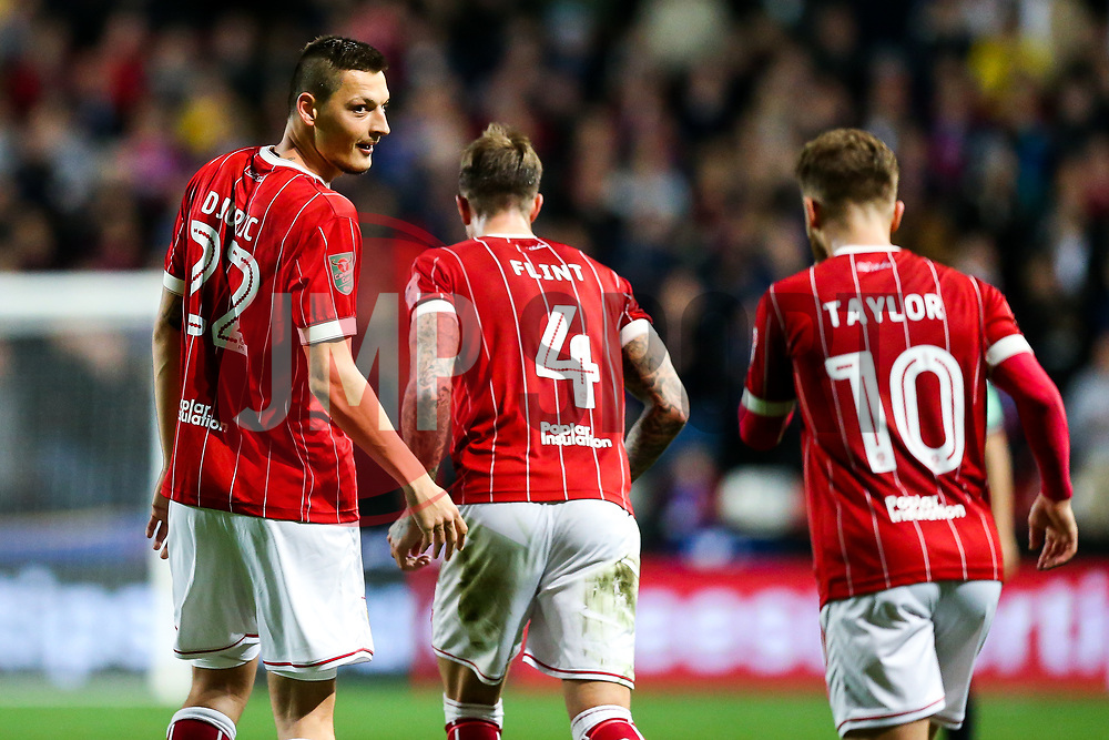Milan Djuric of Bristol City celebrates scoring a goal to make it 2-1 - Rogan/JMP - 24/10/2017 - Ashton Gate Stadium - Bristol, England - Bristol City v Crystal Palace - Carabao Cup Round of 16.
