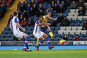 Leeds United midfielder Stuart Dallas (15) shoots and scores making it 1-0 Leeds during the EFL Sky Bet Championship match between Blackburn Rovers and Leeds United at Ewood Park, Blackburn, England on 2 February 2017. Photo by Pete Burns.