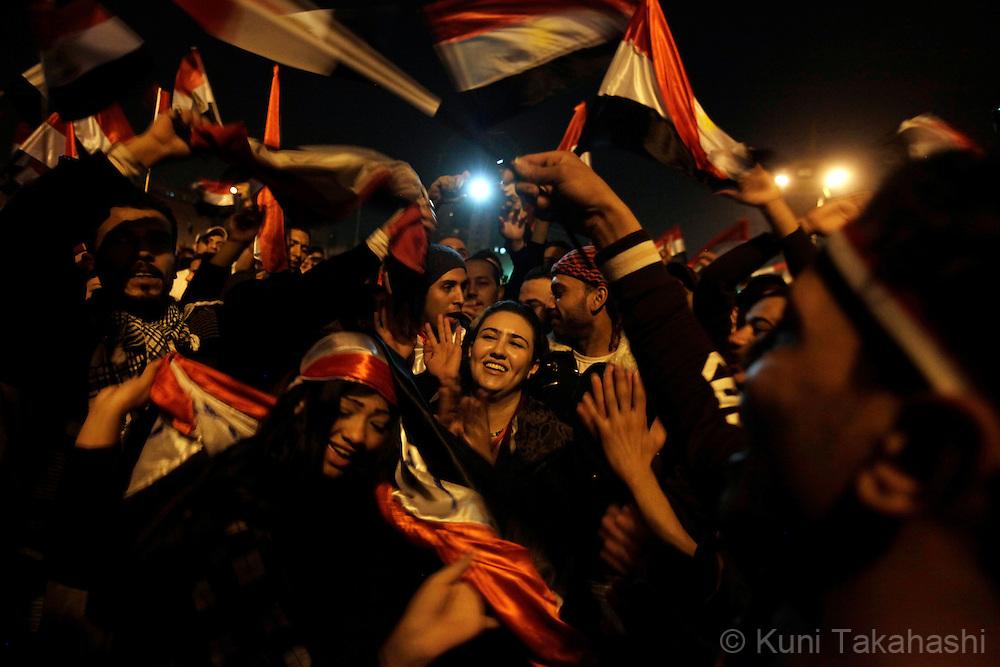 Anti-government protesters celebrate at Tahrir Sq in Cairo Egypt on Feb 11, 2011 following President Hosni Mubarak's resignation. .Photo by Kuni Takahashi