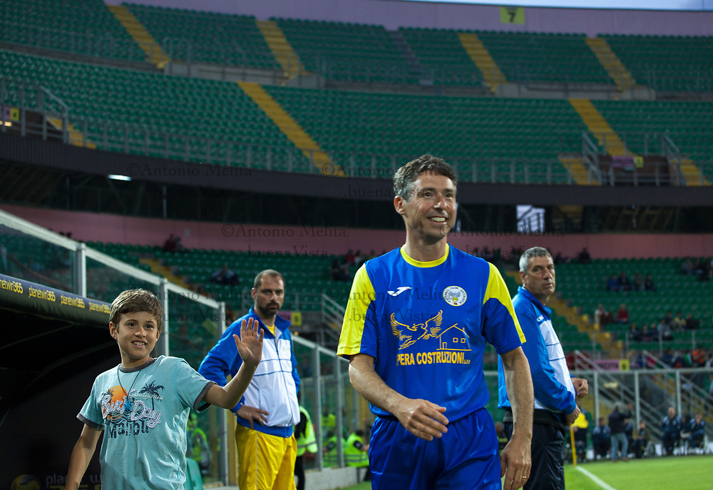 Manfredi Borsellino, figlio del magistrato Paolo Borsellino, allo Stadio Renzo Barbera di Palermo per la Partita della Vita 2017.