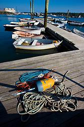 Dinghies, skiffs in Southwest Harbor, Maine. Near Acadia National Park.