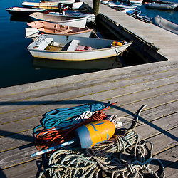 Dinghies, skiffs in Southwest Harbor, Maine. Near Acadia National Park.