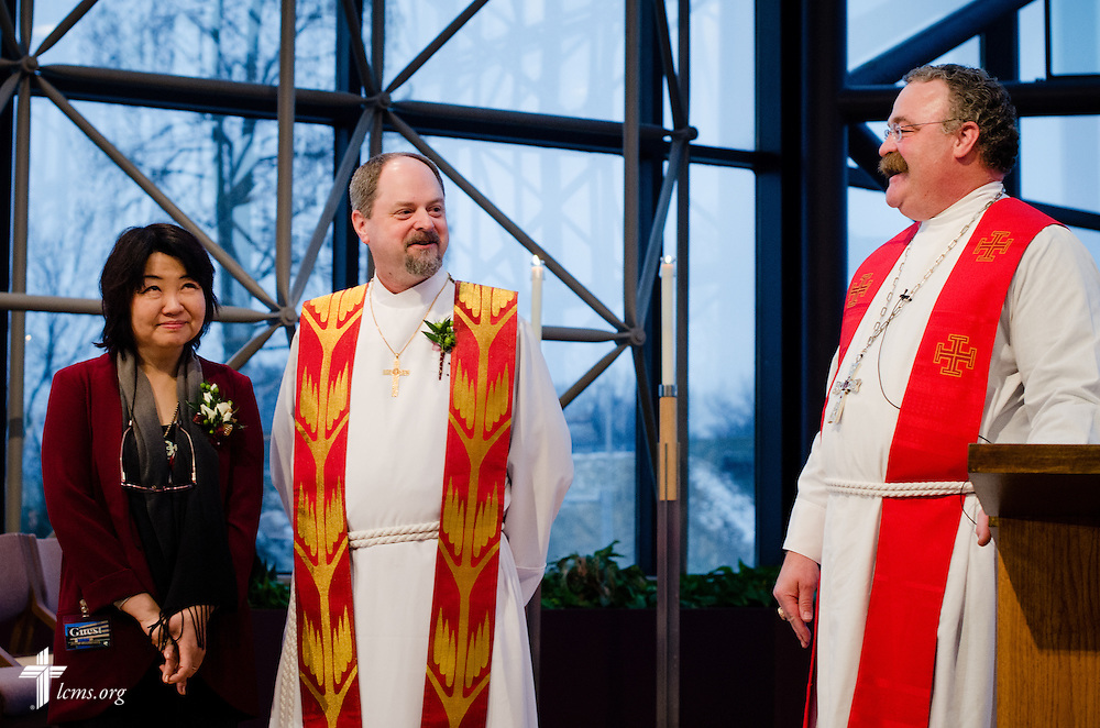 The Rev. Dr. Daniel N. Harmelink (left) is installed Friday, Feb. 14, 2014, to the position of Executive Director at the Concordia Historical Institute by LCMS President Matthew C. Harrison (right) at The Lutheran Church--Missouri Synod International Center in Kirkwood, Mo.  Harmelink has been pastor of Redeemer Lutheran Church in Huntington Beach, Calif., since 1996.  LCMS Communications/Erik M. Lunsford