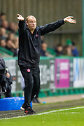 Brian Rice, manager of Hamilton Academical FC gestures to his players during the Ladbrokes Scottish Premiership match between Hibernian FC and Hamilton Academical FC at Easter Road Stadium, Edinburgh, Scotland on 22 January 2020.