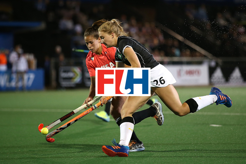 JOHANNESBURG, SOUTH AFRICA - JULY 20:  Camille Nobis of Germany battles with Lucina von der Heyde of Argentina during day 7 of the FIH Hockey World League Women's Semi Finals semi final match between Germany and Argentina at Wits University on July 20, 2017 in Johannesburg, South Africa.  (Photo by Jan Kruger/Getty Images for FIH)