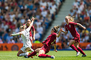 Lucy Bronze (England) & Betsy Hassett (New Zealand) during the FIFA Women's World Cup UEFA warm up match between England Women and New Zealand Women at the American Express Community Stadium, Brighton and Hove, England on 1 June 2019.