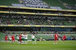 DUBLIN, REPUBLIC OF IRELAND - Friday, May 27, 2011: Wales' Craig Bellamy takes a free-kick against Northern Ireland during the Carling Nations Cup match at the Aviva Stadium (Lansdowne Road). (Photo by David Rawcliffe/Propaganda)