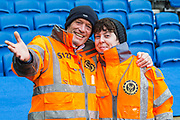 Pat & Kirsty, two of the Match Day Stewards at the South Stand ahead of the Premier League match between Brighton and Hove Albion and Crystal Palace at the American Express Community Stadium, Brighton and Hove, England on 29 February 2020.