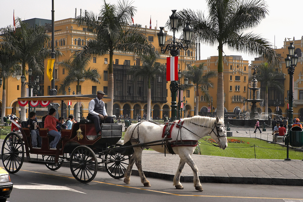 Horse and carriage  Plaza de Armas  Lima, Peru