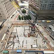 Aerial view of construction site with crane. New York City.
