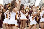 Cheerleards followed by the Trojan's band of University of Southern California in parade along Decumanus in Expo 2015 for the National day of United States, Rho-Pero, Milan, July 4, 2015. &copy; Carlo Cerchioli<br /> <br /> Cheerleader seguite dalla banda Trojan's dell'Univesit&agrave; del sud California in parata lungo il decumano a Expo 2015 per la giornata nazionale degli Stati Uniti, Rho-pPero, Milano, 4 luglio 2015.