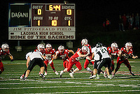The Laconia Sachems came out strong in the first quarter against Pembroke Academy during Friday night's Homecoming football game on Jim Fitzgerald Field.  (Karen Bobotas/for the Laconia Daily Sun)