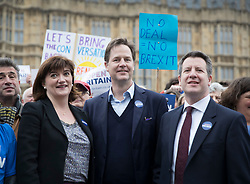 © Licensed to London News Pictures. 29/03/2017. London, UK. Former Lib Dem party leader Nick Clegg takes part in a pro-EU protest with former education secretary Nicky Morgan and Chris Leslie MP (R) near Parliament on the day that Prime Minister Theresa May will trigger Article 50 to start the process of the UK's withdrawal from the European Union.  Photo credit: Peter Macdiarmid/LNP