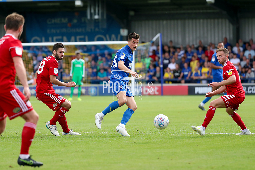 AFC Wimbledon midfielder Callum Reilly (33) passing the ball during the EFL Sky Bet League 1 match between AFC Wimbledon and Accrington Stanley at the Cherry Red Records Stadium, Kingston, England on 17 August 2019.