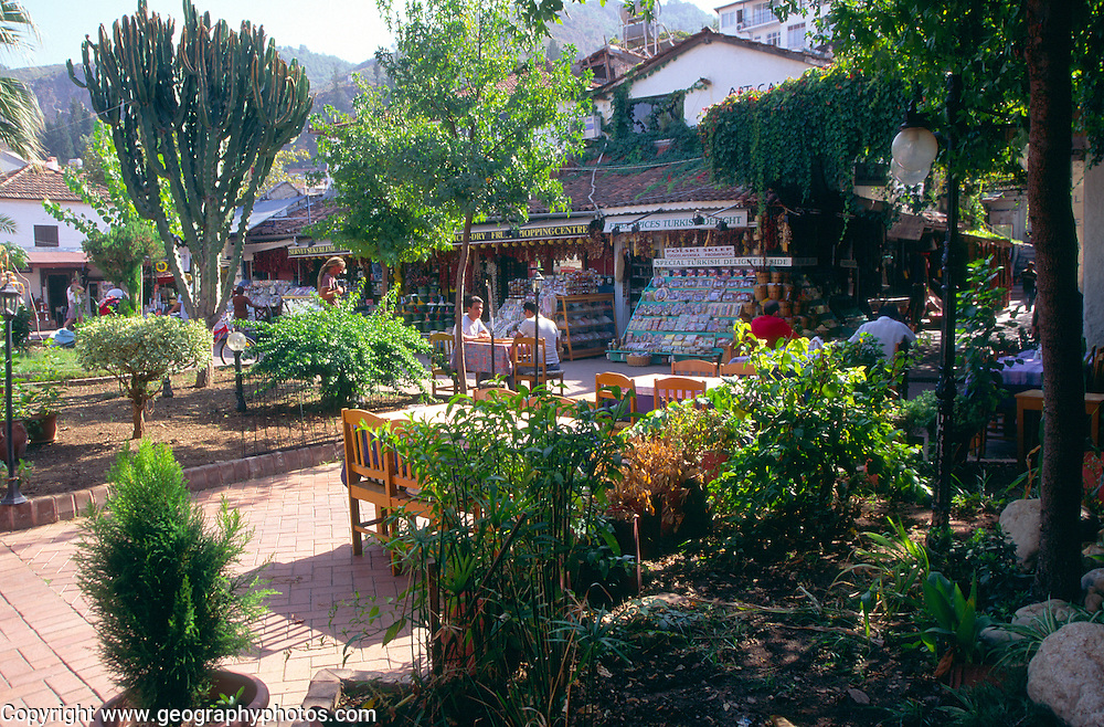Green and shady plaza in town centre, Fethiye, Turkey