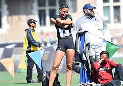 April 28, 2018 - Philadelphia, Pennsylvania, U.S - LISSA LABICHE (4) of the University of South Carolina warms up as her teammate laughs during the CW high jump championship at the 124th running of the Penn Relays in Philadelphia Pennsylvania (Credit Image: © Ricky Fitchett via ZUMA Wire)