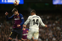 March 2, 2019 - Madrid, Spain - Real Madrid CF's Carlos H. Casemiro and FC Barcelona's Gerard Pique during La Liga match between Real Madrid and FC  Barcelona at Santiago Bernabéu in Madrid..Final Score: Real Madrid 0 - 1 FC Barcelona (Credit Image: © Manu Reino/SOPA Images via ZUMA Wire)