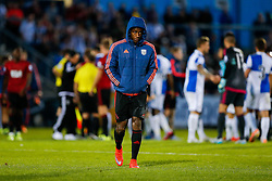 Saido Berahino of West Brom leaves the pitch with his hood up after being substituted in a 0-4 win - Mandatory byline: Rogan Thomson/JMP - 07966 386802 - 31/07/2015 - FOOTBALL - Memorial Stadium - Bristol, England - Bristol Rovers v West Bromwich Albion - Phil Kite Testimonial Match.