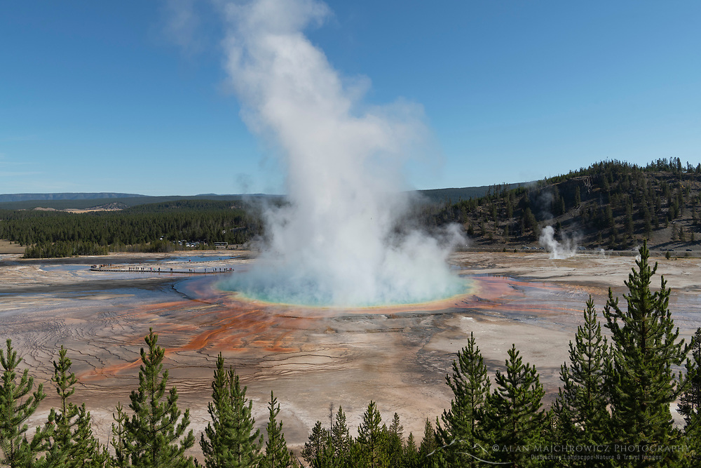Steam plume emitting from Grand Prismatic Spring on a cold morning, Yellowstone National Park