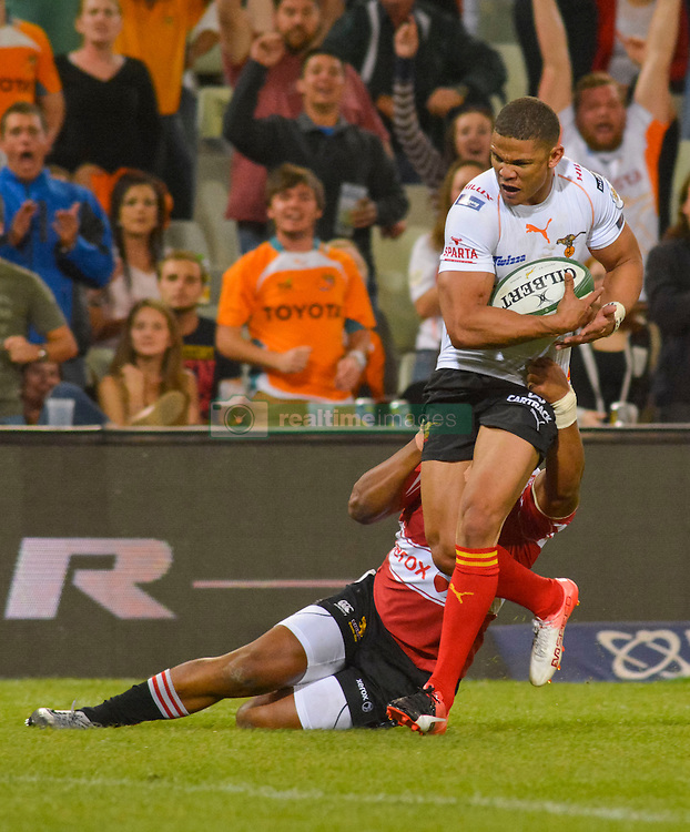Ryno Benjamin of the Free State Cheetahs and Anthony Volmink of the Lions  during the Currie Cup Premier division match between the The Free State Cheetahs and the Lions held at Toyota Stadium (Free State Stadium), Bloemfontein, South Africa on the 15th September 2016<br /> <br /> Photo by:   Frikkie Kapp / Real Time Images