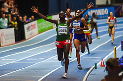 March 4, 2018 - Birmingham, England, United Kingdom - Francine Niyonsaba of Burundi wins 800 meters  at World indoor Athletics Championship 2018, Birmingham, England on March 4, 2018. (Credit Image: © Ulrik Pedersen/NurPhoto via ZUMA Press)