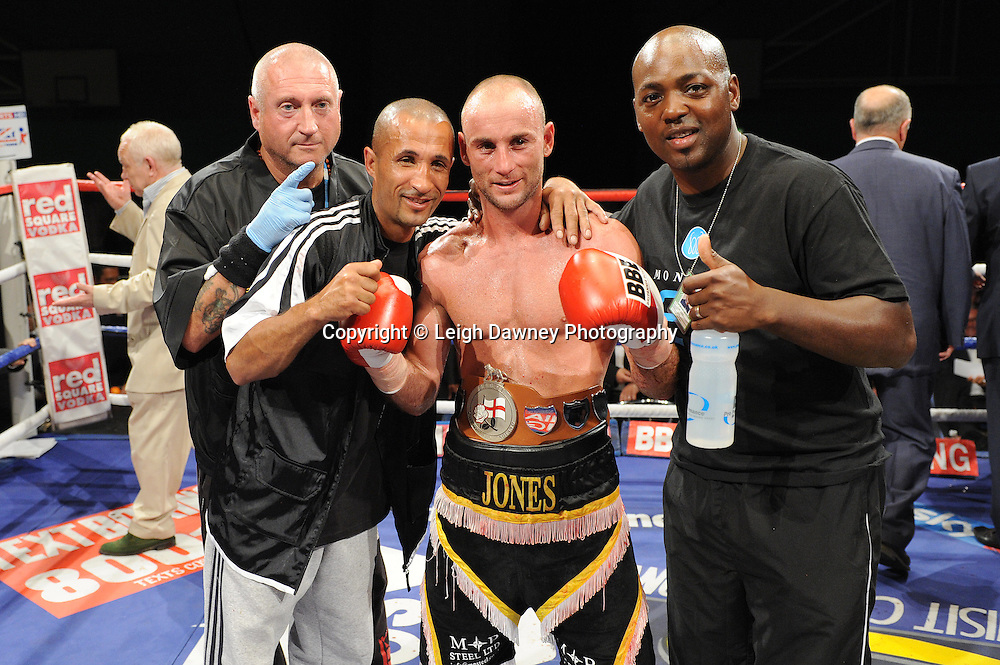 Ben Jones and team celebrate his win over Akaash Bhatia for the English Super Featherweight Title at Medway Park, Gillingham, Kent, UK on 13th May 2011. Frank Maloney Promotions. Photo credit © Leigh Dawney 2011.