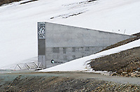 Exterior of the Svalbard Global Seed Vault in Longyearbyen on Spitsbergen in the Svalbard archipelago, Norway.