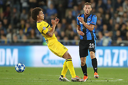 September 18, 2018 - Brugge, BELGIUM - Dortmund's Axel Witsel and Club's Mats Rits fight for the ball during a game between Belgian soccer team Club Brugge KV and German club Borussia Dortmund, in Brugge, Tuesday 18 September 2018, day one of the UEFA Champions League, in group A. BELGA PHOTO BRUNO FAHY (Credit Image: © Bruno Fahy/Belga via ZUMA Press)