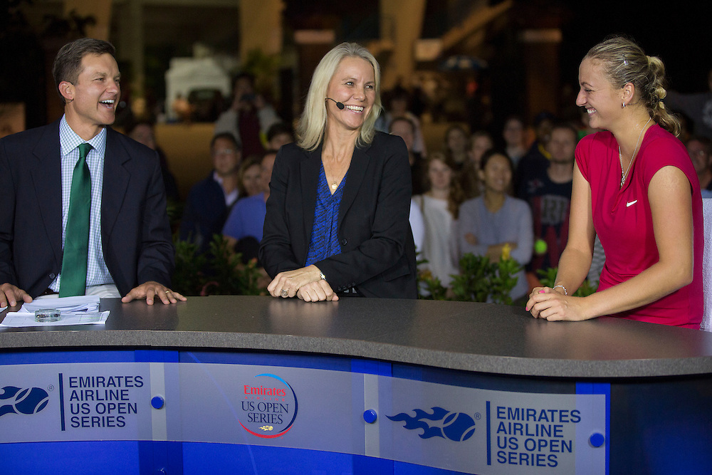 August 22, 2014, New Haven, CT:<br /> Petra Kvitova joins hosts Sam Gore and Renee Stubbs on the ESPN set after defeating Samantha Stosur in the semi-finals on day eight of the 2014 Connecticut Open at the Yale University Tennis Center in New Haven, Connecticut Friday, August 22, 2014.<br /> (Photo by Billie Weiss/Connecticut Open)