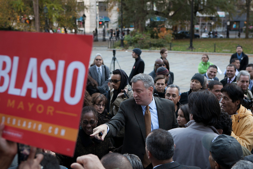 Bill de Blasio rallies at City Hall with group Latinos for De Blasio in New York, NY on Sunday, Nov. 3, 2013.<br /> <br /> CREDIT: Andrew Hinderaker for The Wall Street Journal<br /> SLUG: NYMAYOR