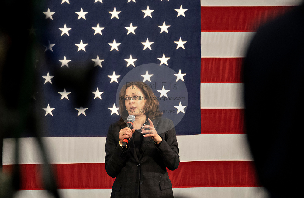 Senator Kamala Harris address a town hall meeting during her campaign for the Democratic nomination for president February 15, 2019 in North Charleston, South Carolina. South Carolina is the first southern democratic primary for the presidential race.