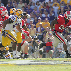 25 October 2008:  Georgia running back Knowshon Moreno (24) runs as LSU linebacker Darry Beckwith (48) pursues during the Georgia Bulldogs 52-38 victory over the LSU Tigers at Tiger Stadium in Baton Rouge, LA.