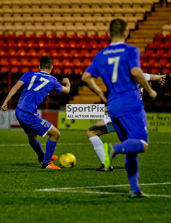 Airdrieonians v Dunfermline Athletic SPFL League One Season 2015/16 Excelsior Stadium 14 November 2015<br /> Shaun Byrne makes it 2-0<br /> CRAIG BROWN | sportPix.org.uk